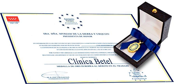 Medalla de Oro Europea al Mérito en el Trabajo Clínica Betel